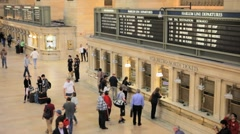 People Buying Train Tickets at Grand Central Station Ticketing in New York City Stock Footage