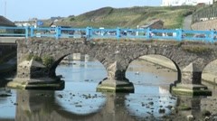 Bridge over River Neet in Bude, Cornwall Stock Footage