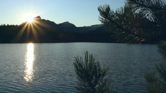 Sunset and alpine lake TL 03 Stock Footage