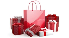 Red bag with presents - stock footage