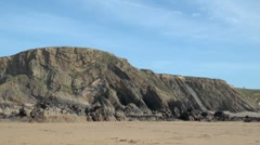 Cliff Formation Bude, Cornwall Stock Footage
