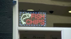 Fish and Chips Neon Sign Stock Footage