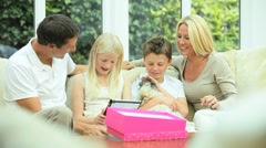Blonde Caucasian Girl  Receiving Birthday Gift Stock Footage