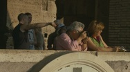Stock Video Footage of Tourists in Rome looking from Colosseum (4 clips)