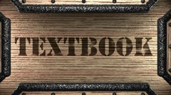 Stock Video Footage of textbook on wooden stamp