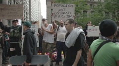 Wall street demonstration manhattan NYC Stock Footage