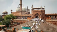 Jama Masjid (Friday Mosque), Old Delhi, India - Tlapse Stock Footage