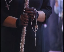 Mantilla hands with rosary at Holy week in Spain. Stock Footage