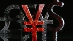 Currency symbols, yen red front, dolly rotate Stock Footage
