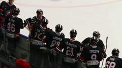 High five - celebrating an ice hockey goal. Stock Footage