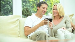 Caucasian Couple Relaxing with Glass Wine Stock Footage