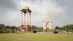 India, Delhi, New Delhi, India Gate - Tlapse Stock Footage