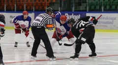 Face-off in ice-hockey, slow motion Stock Footage
