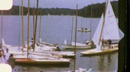 Stock Video Footage of Small Boats at wooden Pier Circa 1950 (Vintage Film Home Movie) 845