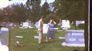 Solider Mother Memorial Day Graveyard Death 1960s (Vintage Home Movie) 884 Stock Footage