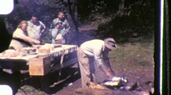 Family Picnic TABLE Lunch Eating Dinner 1950s Vintage Film Retro Home Movie 846 - stock footage