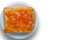 Toast with apricot jam Stock Footage