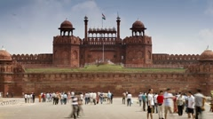 Stock Video Footage of Red Fort, Old Delhi, India - Tlapse