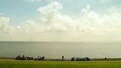 View over the Wadden Sea Stock Footage