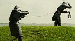 Stock Video Footage of Statue Of The Famous Dike Keepers on Ameland