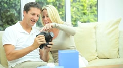 Young Caucasian Husband with Birthday Gift Stock Footage