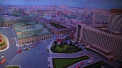 Night diorama Moscow - capital of USSR by Yefim Deshalyt for National Exhibition Stock Footage