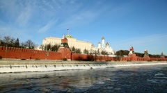 Quay and walls of Moscow Kremlin and Ivan Great Bell Tower Stock Footage