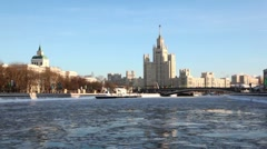 Ship floats, residential complex of Stalin era is located on Kotelnicheskaya Stock Footage