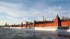 Riverside and walls of Moscow Kremlin and Ivan Great Bell Tower Stock Footage