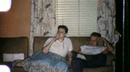 Woman Smokes Cigarette in Living Room Cancer 1960s Vintage Film Home Movie 856 Stock Footage