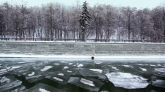 Wall promenade, forest on shore in winter Stock Footage