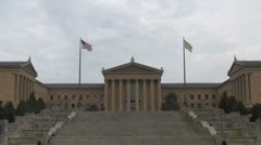 Philadelphia Museum of Art from the bottom of the Rocky steps - stock footage