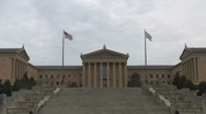 Stock Video Footage of Philadelphia Museum of Art from the bottom of the Rocky steps