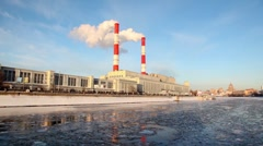 Thermal power station on Moscow River - stock footage