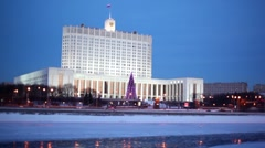 House of Russian Federation Government or White house in Moscow Stock Footage