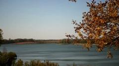 Breezy Autumn on a Lake Stock Footage