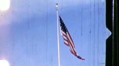 SOLDIERS RAISE AMERICAN FLAG Flagpole 1960s Vintage Retro Film Home Movie 861 - stock footage