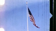 Stock Video Footage of SOLDIERS RAISE AMERICAN FLAG Flagpole 1960s Vintage Retro Film Home Movie 861
