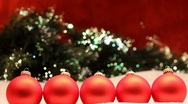 Five red ornament row Stock Footage