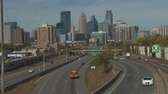 Mpls downtown traffic WS Stock Footage
