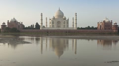 Taj Mahal, Jumna (Yamuna) River, Agra,India Stock Footage