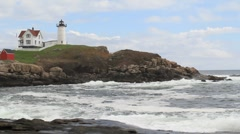 Cape Neddick Lighthouse Maine 3 Stock Footage