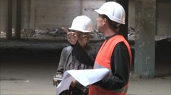 builders to discuss project - stock footage