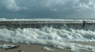 Heavy wind blowing into foam near North Sea, Germany Stock Footage