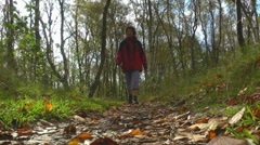 Hiking through autumn forest, Borkum, Germany Stock Footage