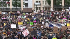 Crowd of Protesters in a city square Stock Footage