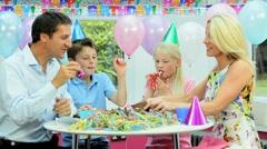 Young Caucasian Children Enjoying Birthday Celebrations - stock footage