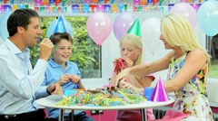 Young Caucasian Girl Enjoying Birthday Celebrations Stock Footage