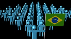 Brazilian workforce with flag animation - stock footage