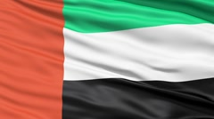 Realistic 3D detailed slow motion United Arab Emirates flag in the wind - seamle - stock footage